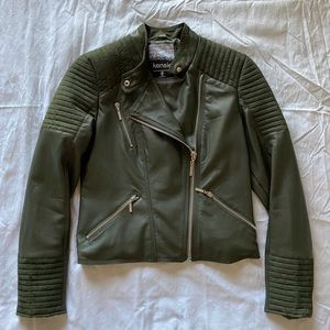 Kensie Army Green Faux Leather Moto Jacket